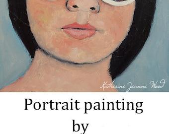 Oil Portrait Painting. Woman Wearing White Sunglasses. Original Small Art. Apartment Wall Art Decor.