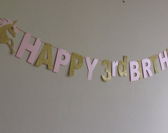 Unicorn Happy Birthday Banner, Fantasy Birthday Party Banner, Girl's Birthday Party Banner, Pink and Gold Banner