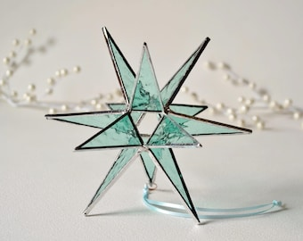 """12 Point Moravian Star. Light Windsor Blue Star. Stained Glass Star. 6,5"""""""