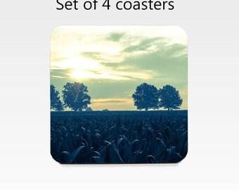 Landscape coaster set, drink coasters, set of 4, blue cornfield coasters, wine accessories, housewarming gift, cork back coasters