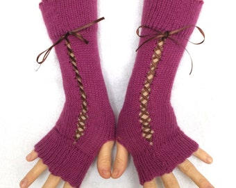 Christmas Gift for Her Fingerless Corset Gloves Arm Warmers Orchid Pink Rose for Petite Wrists S size