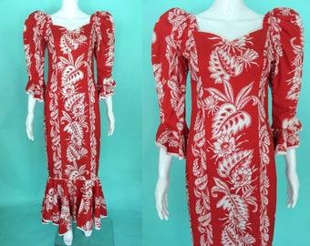 Hawaiian Dress   80's Red Hawaiian Muumuu With Mouton Sleeves Luau Dress Tiki Dress