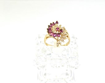 14k Ruby And Diamond Ring. Size 7.25
