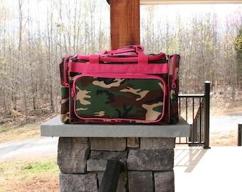 Girls Monogrammed Camo Pink Trim Duffel Bag  Personalized Overnight Bag