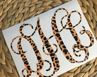 Animal Print Monogrammed Vinyl Decal