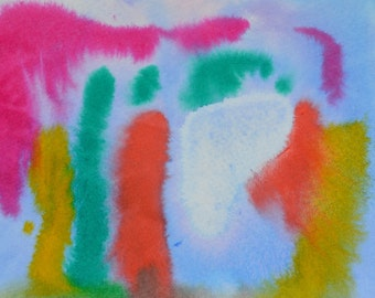 """Original Painting - 5"""" x 7"""" - Abstract - Multicolored Watercolor Painting - 2015-365"""