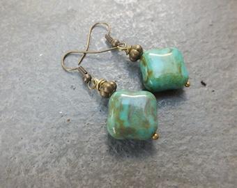 Turquoise Earrings Picasso Drop Earrings  Boho Earrings Small Earrings Czech Glass Earrings