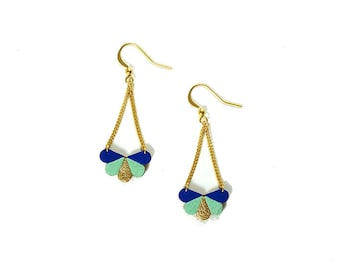 Butterfly earrings in electric blue, mint and gold