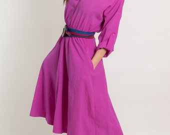 Vintage Fuchsia Belted Shirt Waist Dress (Size Medium)