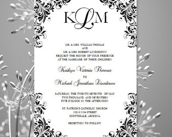 Black White Wedding Invitation Kaitlyn Printable Template Make Your Own Invitations All Colors Av Instant Download Worddoc DIY U Print