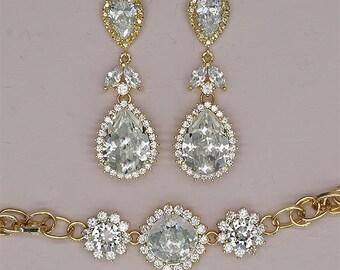 Swarovski Wedding Jewelry Set Gold Bridal Earrings Crystal Wedding Bracelet Rhinestone Bridal Jewelry Set Bridesmaids Jewelry Gifts