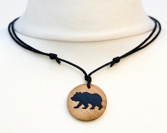 Grizzly Bear Necklace Brown Bear Silhouette Pendant Choker Mens Ladies Bear Jewellery