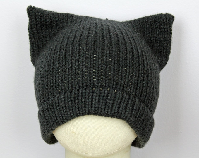 Black Pussy Hat! Slouchy Cap for Men Cat Kitten Hat Pink Ear Hat Women's Rights March on Washington. Men's Beanie Protest Resist Trump