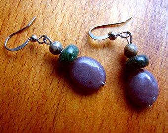 3554 -  Earrings Jasper, Agate
