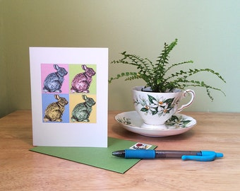 Bunny art card, perfect for a child's 4th birthday. Pop art rabbit, Warhol inspired bunny. Blank inside for any occasion.