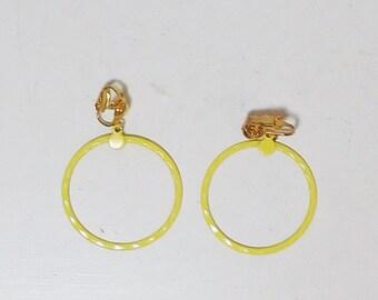 """Clip On Yellow Hoop Earrings Enameled Mod Pop Art Hippie Jewelry Boho Earrings Never Worn, Vintage Costume Jewelry, 1 1/4"""" Wide"""
