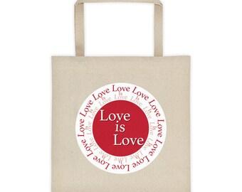 Love is love Tote, Love is love bag, lesbian tote bag, gay tote bag, gay pride tote bag, rainbow tote bag, lesbian gift tote, lesbian gifts