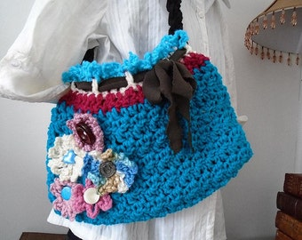 CROCHET PATTERN, Turquoise Purse Flowers, women's accessories, Spring Purse  #783,  crochet handbag, crochet flower, satchel, shoulderbag