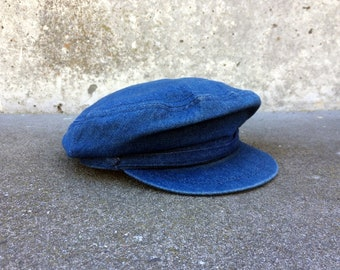 Denim Cap -- Blue denim cap in the sryle of a Greek Fisherman hat -- Karfil