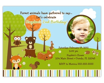 Woodland Forest Friends Photo Card Invitation (You Print)