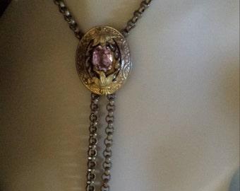 Vintage brass bolo necklace it amythyst center stone