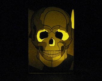 "Skull ""candle"" cover with LED ""flickering"" tea-light ""candle"" - Halloween decoration - glow-in-the-dark skull- kid night light"