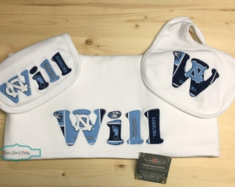 Tarheels Baby Personalized Baby Blanket,Burp Cloth and Bib Set,Personalized Baby Gift Set,Newborn Blanket,Baby Shower Gift,UNC Tarheels Baby