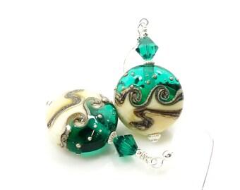 Green Earrings, Wave Earrings, Lampwork Earrings, Glass Earrings, Glass Bead Earrings, Christmas Earrings, Christmas Jewelry,Holiday Jewelry