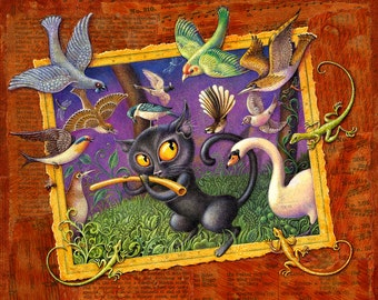 Fantasy music art print ~7x9, The Cat Plays the Flute: Black cat with magic flute, woodland birds & beasts. Nursery wall art, Children's art