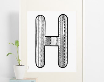 H is for.... A print of the letter H with a fun pattern fill. Perfect for any room, a bold typography letter