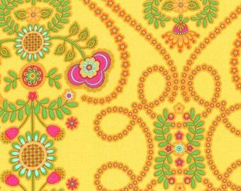 "Michael Miller Fabrics ""Ooh La La"" Coeur De Fleurs in Yellow 34"" Remnant"