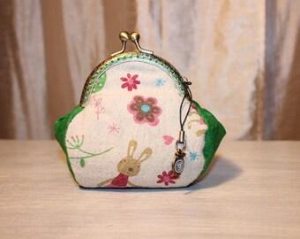 Gift for girl, girl, door wallet RETRO cotton and linen pattern bunnies