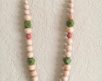 Silicone Teething Necklace, Nursing Necklace, Chew Beads, tan green maroon