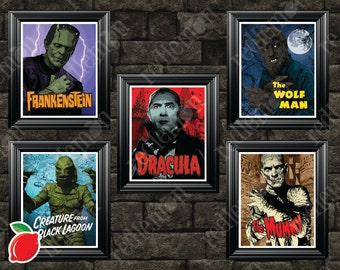 Set of 5 Monster Art Prints plus EXCLUSIVE Bride of Frankenstein Print!