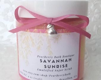 Savannah Sunrise Emulsified Sugar Scrub Home Spa Body Polish Scrub Gifts for Her Aromatherapy Natural Soap Handmade Scrub Mother Sister 4oz