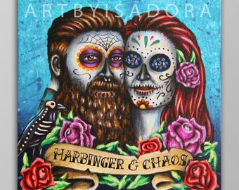 Custom Day of the Dead Portrait Painting Art Commission - Día de los Muertos couple portrait painting - Day of the Dead portrait from photo