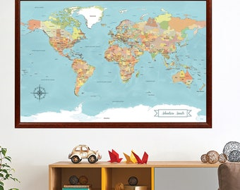 World map push pin etsy more colors sale world map gumiabroncs Choice Image