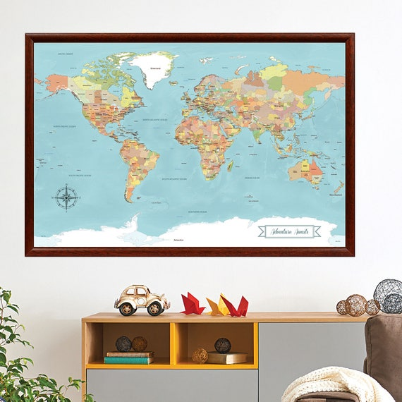 Sale world map push pin paper anniversary gift idea push like this item gumiabroncs Choice Image