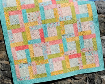 Patchwork Quilt PATTERN ....baby, lap, twin, full, queen, king Jelly Roll, layer cake or fat quarter or scraps...Happy Day