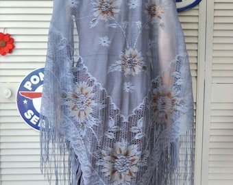 Vintage Womens Blue Lace Piano Shawl Victorian Boho Wedding Prom Long Fringed Theater Costume Romantic 60s 70s Formal Wrap Bridal Gypsy