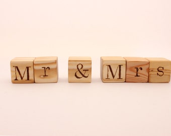 Personalized wooden blocks | 1,5 inch | Mr | Mrs | Letter blocks | Hand burned letters | Rustic wedding decoration