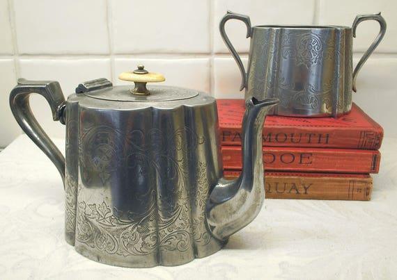 & Antique silver plated teapot u0026 sugar bowl J H Potter Sheffield