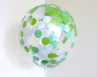Green  Balloons, Green Confetti, Confetti Balloons, Green and White Party Decorations, Party Balloon Confetti, Green Baby Shower Decorations