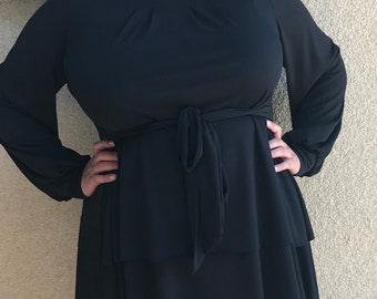 "luisalove30~ ""Diana"" double peplum Tie belt top *Black"