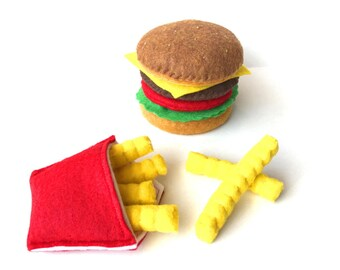 felt play food hamburger and french fries set eco friendly children's pretend food for toy kitchen, felt hamburger, toy hamburger, felt bbq