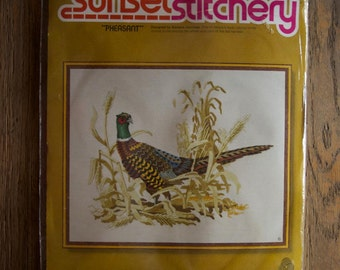 Vintage Sunset Stitchery Kit - Pheasant