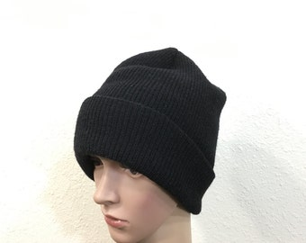 80's vintage U.S.NAVY 100% wool watch cap beanie knit cap