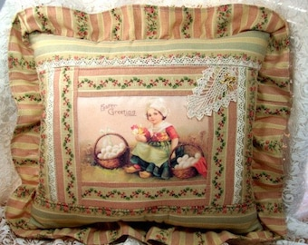 Easter Pillow Little Dutch Girl Image -  Vintage Look - Beautiful Fabrics and embellishments