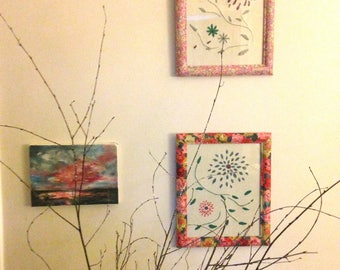 Floral Embroidery, Hand Embroidery, Framed Embroidery, Hanging Embroidery, Embroidery Art, Liberty Fabric Covered Frame, Fibre Art