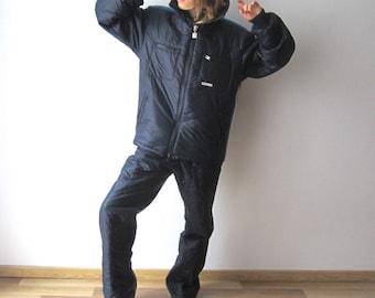 Vintage 80's Navy Blue Two Pieces Ski Suit Zerres Men's Retro Winter Jumpsuit Large Size Snowsuit Snowboard Overalls Skiing Suit